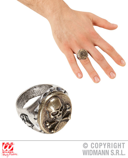 SKULL & CROSS BONES RING for Skeletal Head Skeleton Halloween Pirate Accessory