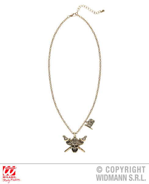 PIRATE CAPTAIN SKULL & CROSS SWORDS NECKLACE WITH PIRATE FLA for Buccaneer Sailor Jack Blackbeard Accessory