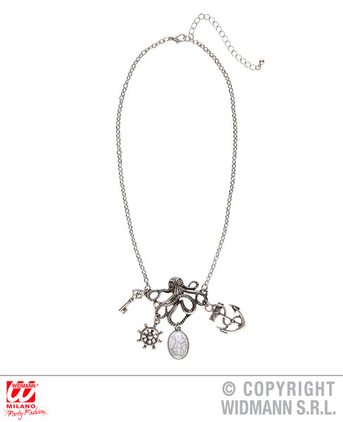OCTOPUS NECKLACE WITH CHARMS for Sea Animal Creature Tentacles Accessory