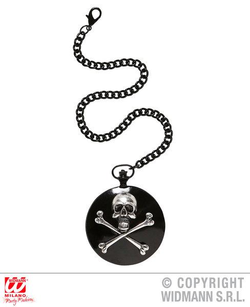 SKULL & CROSS BONES POCKET WATCH WITH CHAIN for Skeletal Head Skeleton Halloween Pirate Accessory