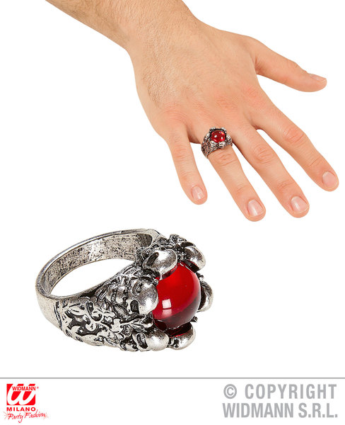 PIRATE SKULLS RING WITH RED GEM for Buccaneer Sailor Jack Blackbeard Accessory