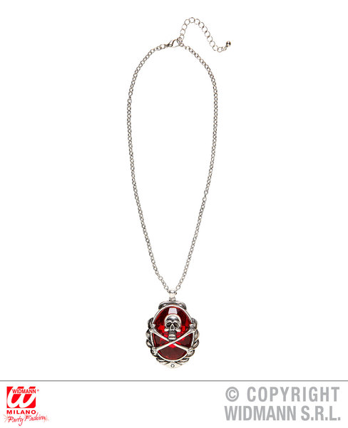 SKULL & CROSS BONES RED GEM NECKLACE for Skeletal Head Skeleton Halloween Pirate Accessory