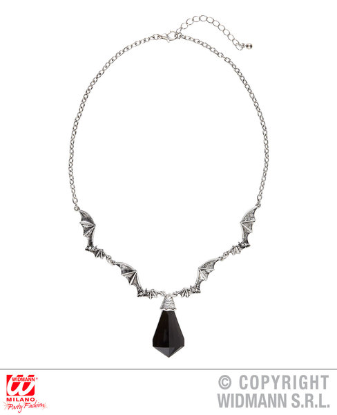 BAT NECKLACE WITH BLACK GEM for Vampire Dracula Accessory