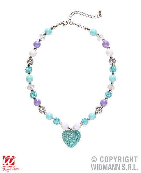 AZURE GLITTER HEART BEADED NECKLACE SFX for Valentines Love Romance Cosmetics