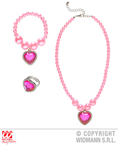 PINK BEADED STRASS GEM HEART NECKLACE, BRACELET & RING for Valentines Love Romance Accessory
