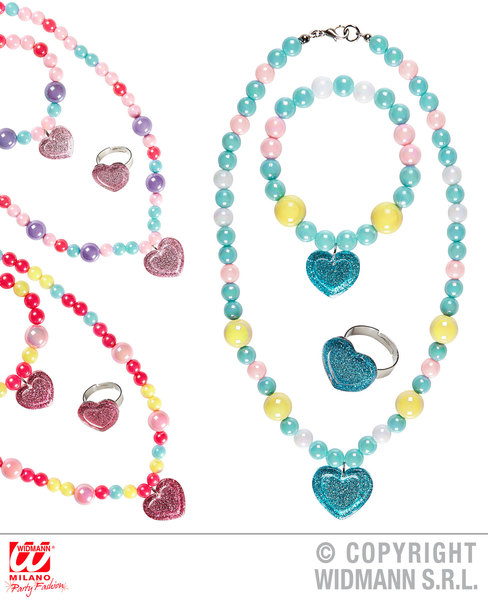 GLITTER HEART BEADED NECKLACE, BRACELET & RING 3 colors ass SFX for Valentines Love Romance Cosmetics