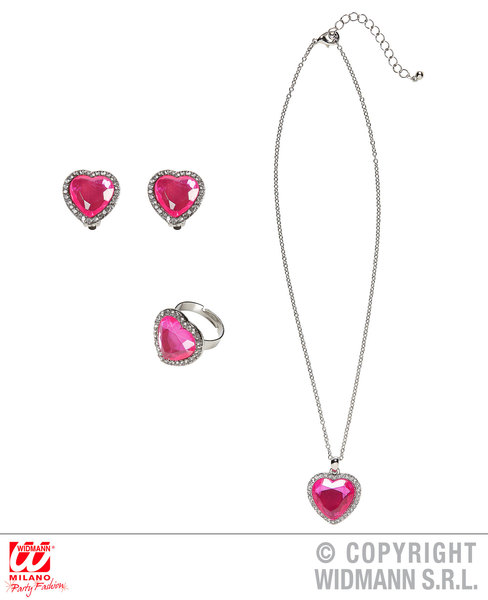 STRASS PINK GEM HEART NECKLACE, EARRINGS & RING for Valentines Love Romance Accessory