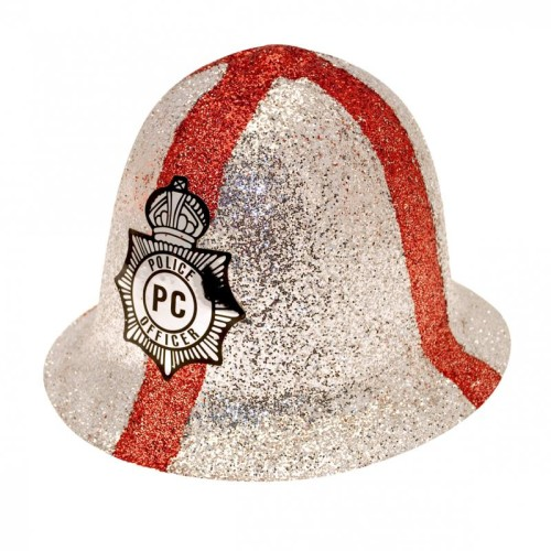 St George's Glitter Police Helmet for England Day Fancy Dress Accessory