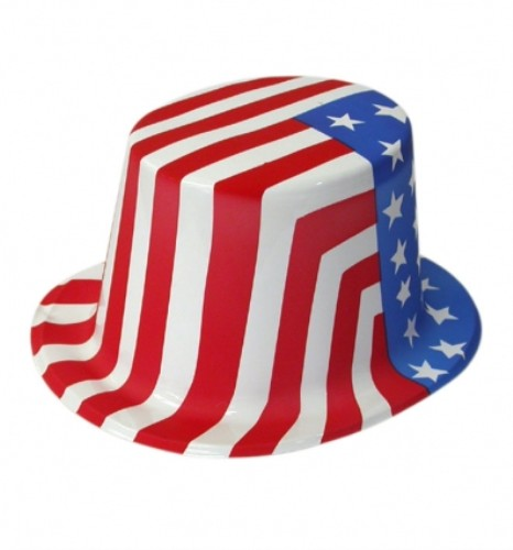 Plastic USA Top Hat Stars & Striped for Uncle Sam American Fancy Dress Accessory