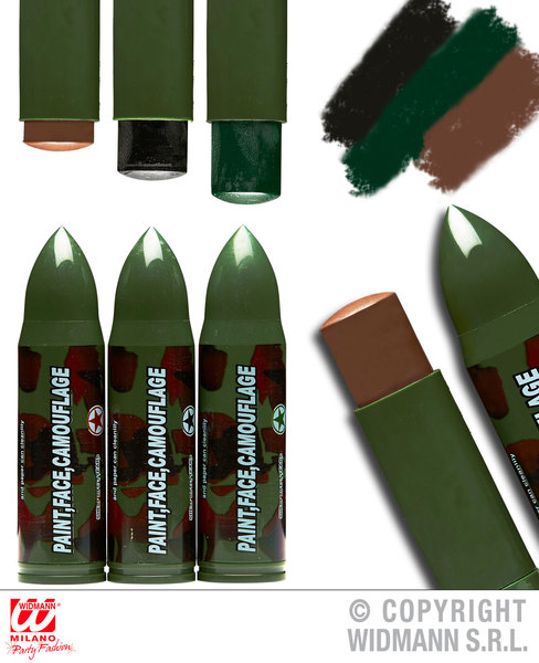 CAMOUFLAGE FACE PAINTS 1 EACH OF BLACK, BROWN, GREEN Accessory for Army Soldier Superhero Fancy Dress