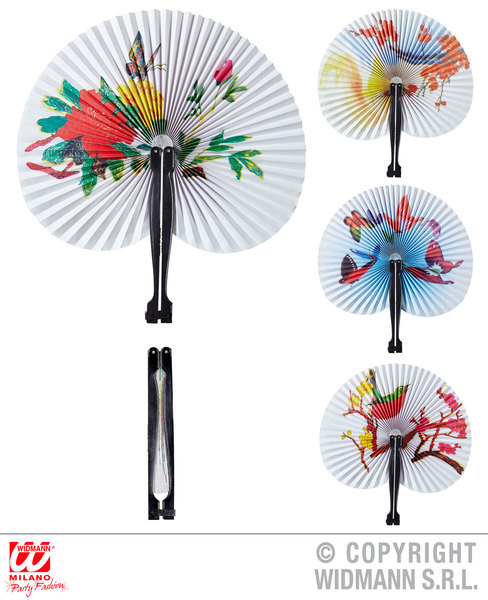 ORIENTAL PAPER FAN 23cm 1 of 4 styles ass. Accessory for Chinese Japanese Thai Vietnamese Fancy Dress