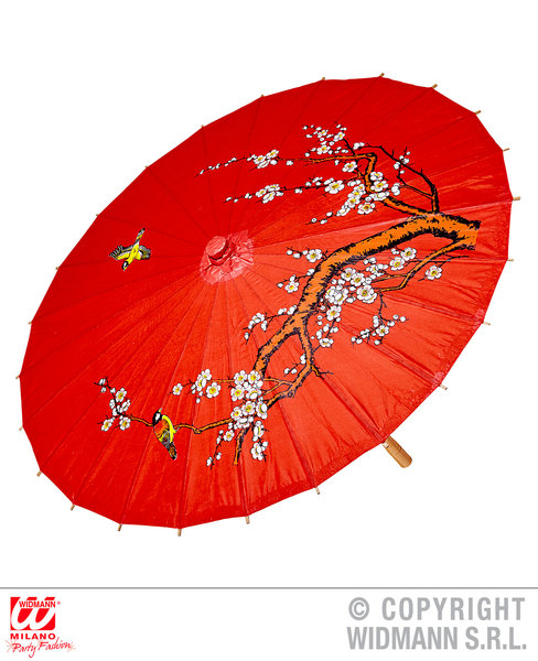 RED RICE PAPER ORIENTAL PARASOL W/WOODEN STRUCTURE ø 84cm Accessory for Chinese Japanese Thai Vietnamese Fancy Dress