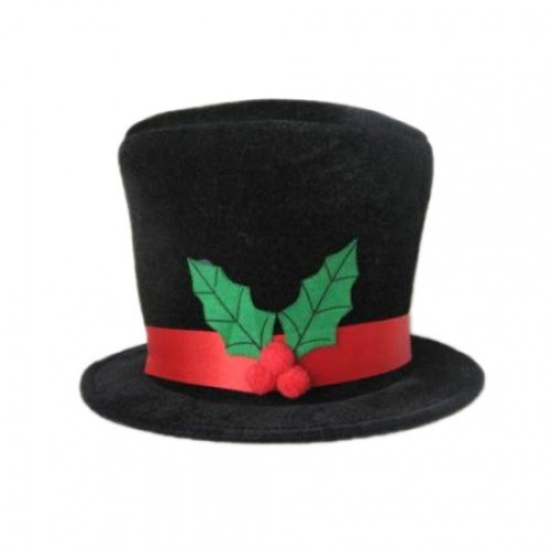 Snowman Hat with Holly Trim for Christmas Fancy Dress Accessory