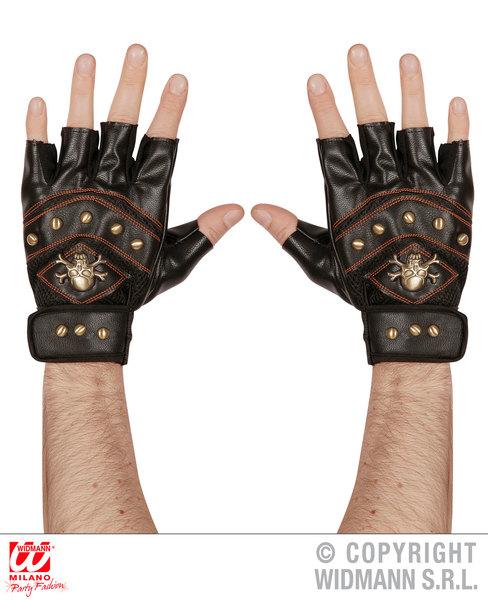 Adult Unisex LEATHERLOOK STUDDED F/LESS SKULL & CROSSBONES GLOVES Accessory for Skeletal Head Skeleton Halloween Pirate Fancy Dress 1Size Unisex Mens