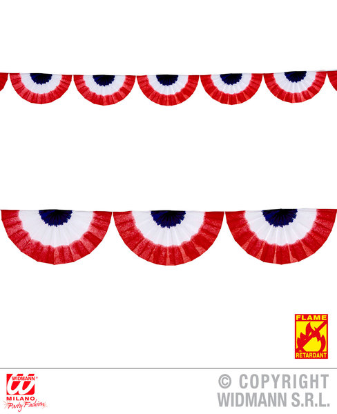 M BLUE WHITE RED TRICOLOR FAN GARLAND 2.75 m Accessory for Fancy Dress Medium