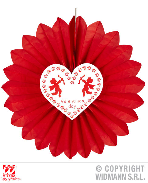 ST. VALENTINE'S DAY PAPER FAN 61cm Accessory for Love Romance Fancy Dress