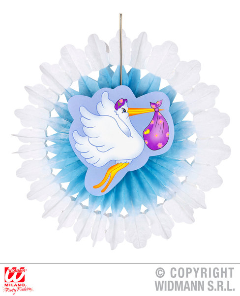 AZURE Child Unisex AZURE STORK WITH BABY PAPER FAN 50cm Decoration for Party Unisex Kids Girls