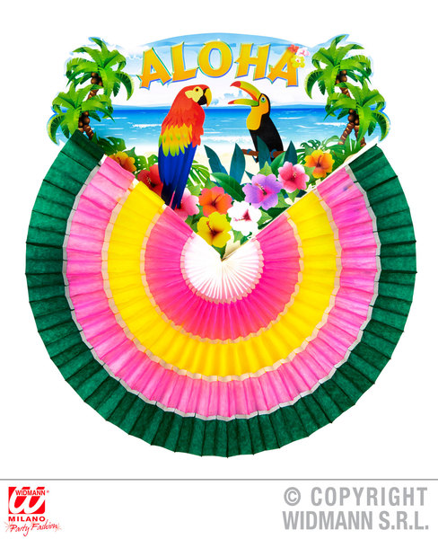MULTICOLOR ALOHA PAPER FAN 46cm Accessory for Hawaiian Tropical Fancy Dress