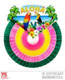 MULTICOLOR ALOHA PAPER FAN 46cm Accessory for Hawaiian Tropical Fancy Dress