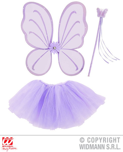 PURPLE (WINGS, WAND, TUTU SKIRT) BUTTERFLY SET Costume for Caterpillar Bug Insect Animal Fancy Dress Outfit