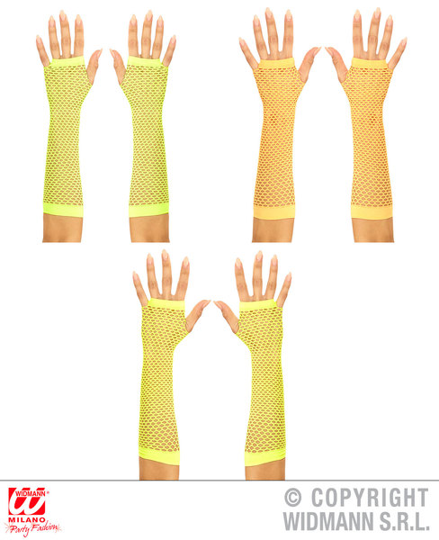 1 Ladies 80s 90s NEON LONG F/LESS NET GLOVES YELLOW, GREEN, ORANGE ASSTD Accessory for 80s Disco Pop Retro Fancy Dress 1Size Adults Female