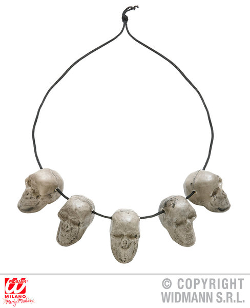 5 SKULL NECKLACE for Skeletal Head Skeleton Halloween Pirate Accessory