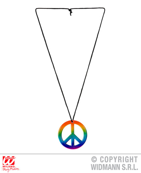 HIPPIE NECKLACE WITH MULTICOLOR PEACE MEDALLION for Hippy 60s 70s Mod Retro Vint