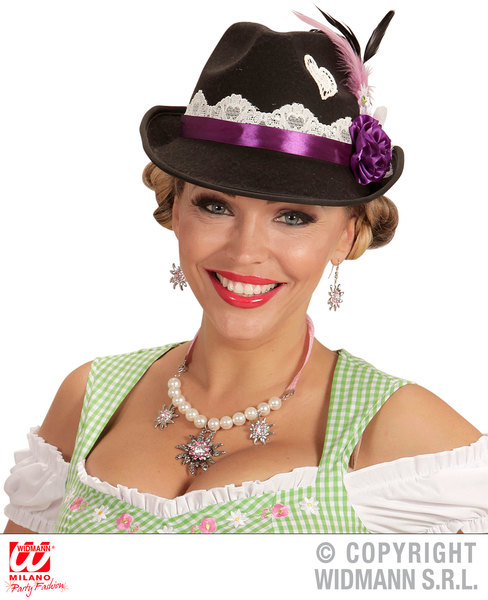 DECORATED TIROLEAN HAT Accessory for Bavarian German Fancy Dress