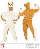 Mens PLUSH BULLDOG hooded jumpsuit with mask Creature Zoo Farm Fancy Dress