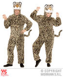 Ladies PLUSH LEOPARD hooded jumpsuit with mask Spotty Cat Jungle Fancy Dress