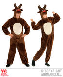 Mens PLUSH REINDEER hooded jumpsuit with mask Christmas Festive Fancy Dress
