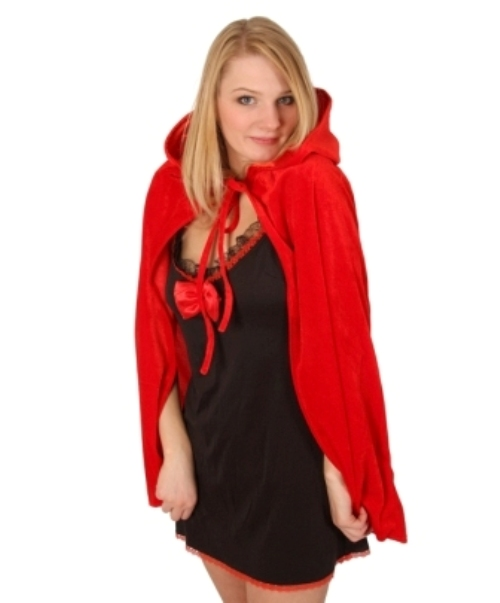 Cloak & Hood Red 75cm Halloween Accessory Cloak Cape Hood Fairytale Fancy Dress