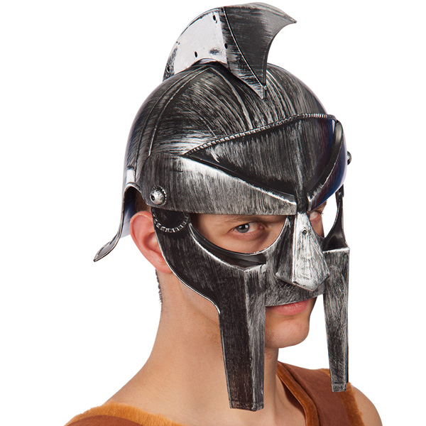 Helmet Spartan Silver & Black Roman Gladiator Fancy Dress Accessory