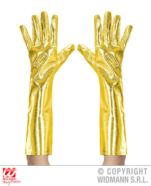 Adult Unisex Pair of GOLD SPACE METALLIC GLOVES 40cm Accessory for Sci Fi NASA Astronaut Alien UFO Fancy Dress 1Size Unisex Mens