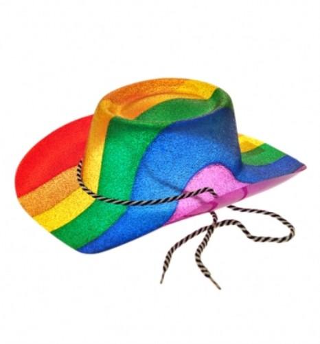 Cowboy Style Glitter Rainbow Hat for Wild West Fancy Dress Accessory
