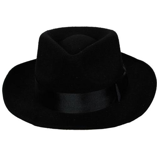 Classic Gangster Hat & Satin Band for 20s 30s Mobster Mob Criminal Fancy Dress