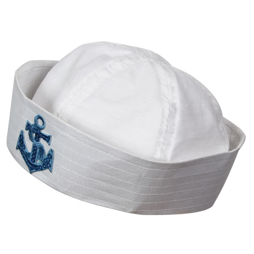 Sailor Doughboy Hat With Sequin Anchor for Navy Crew Military Seaman Fancy Dress