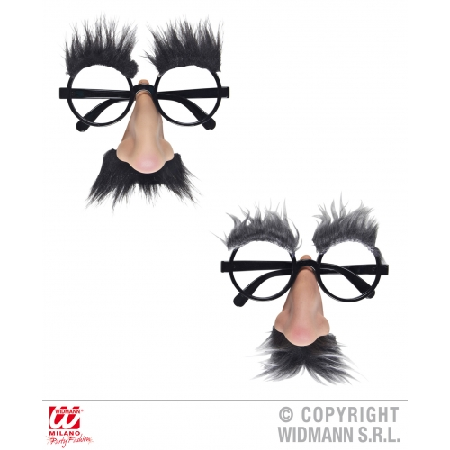 GLASSES W/NOSE TACHE & BROWS 1 of 2 colours Accessory for Moustache Fake Tash Fancy Dress