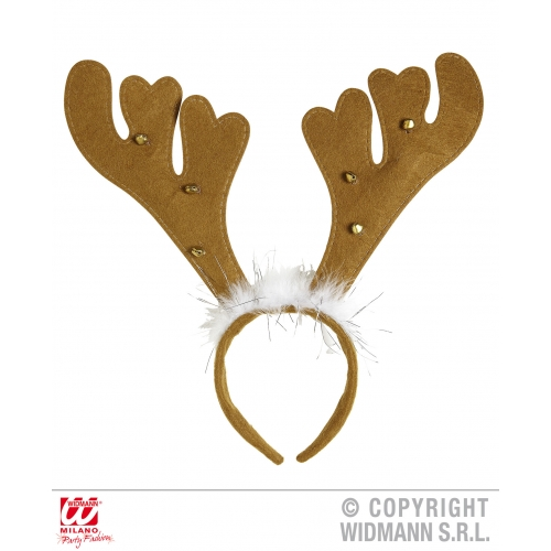 WITH BELLS & MARABOU REINDEER HORNS Accessory for Christmas Animal Festive Fancy Dress