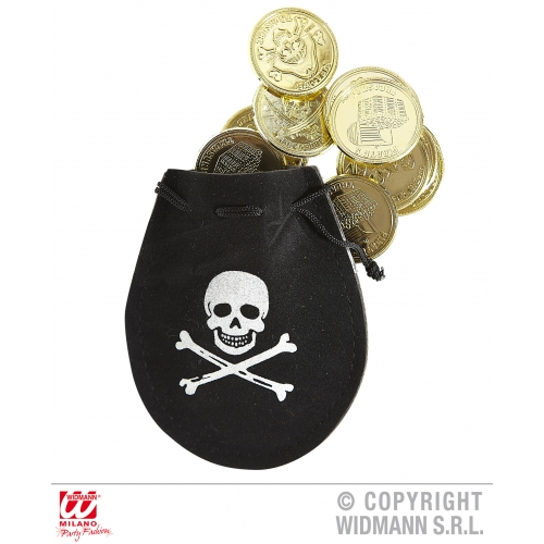 PIRATE POUCH W/ DOUBLOONS Accessory for Buccaneer Sailor Jack Blackbeard Fancy Dress