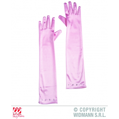 Ladies Soft Pink LONG FLAPPER GLAMOUR GLOVES W/STRASS Accessory for 20s 30s Gangsters Moll Fancy Dress 1Size Adults Female