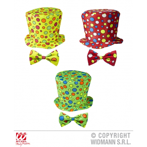 1 Child Unisex CLOWN TOP HAT & BOW TIE SIZE (green red yellow) Accessory for Circus FunFair Parade Fancy Dress Unisex Kids Girls