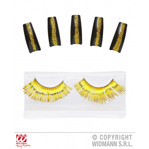 SET OF GOLD EYELASHES & 10 GLITTER NAILS SFX for Cosmetics
