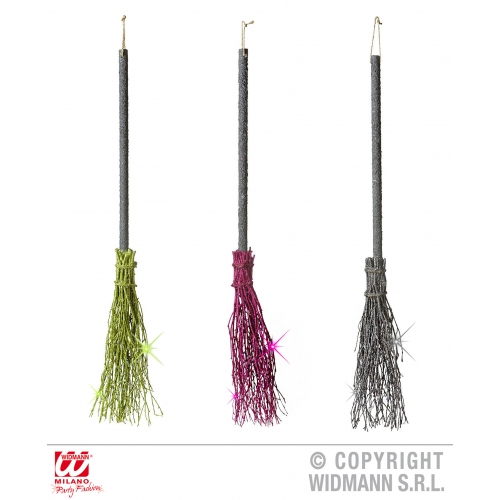 CROOKED DELUXE GLITTER WITCH BROOMS 98 cm 1 of 3 colours SFX for Halloween Oz Eastwick Cosmetics