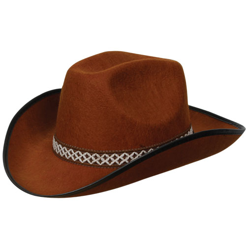 Brown Cowboy Hat W/Decorative Band for American Wild West & Indians Fancy Dress
