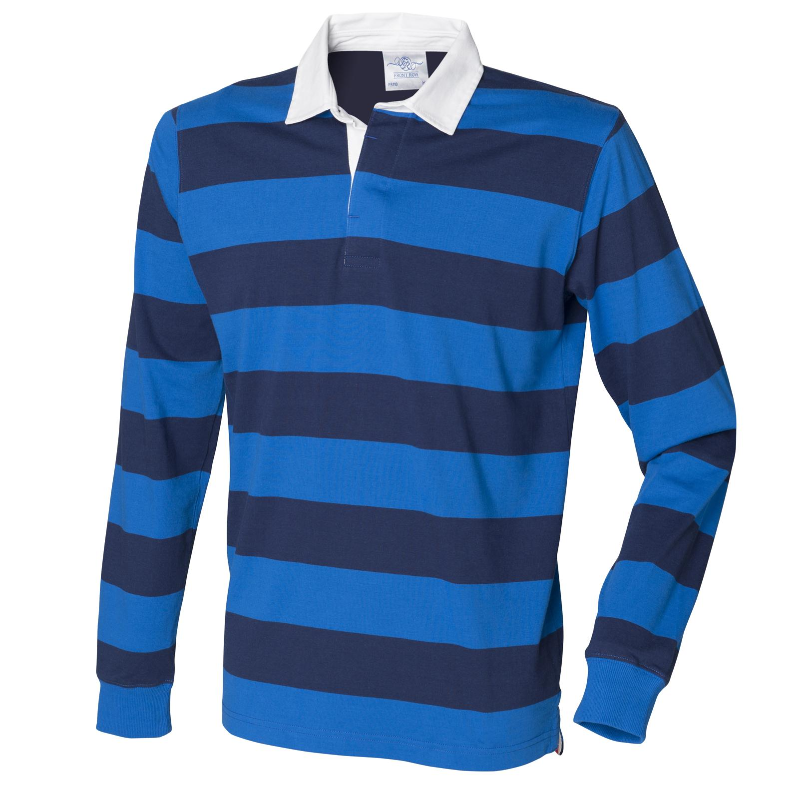 New Front Row Mens Slim Fit Casual Striped Cotton Rugby