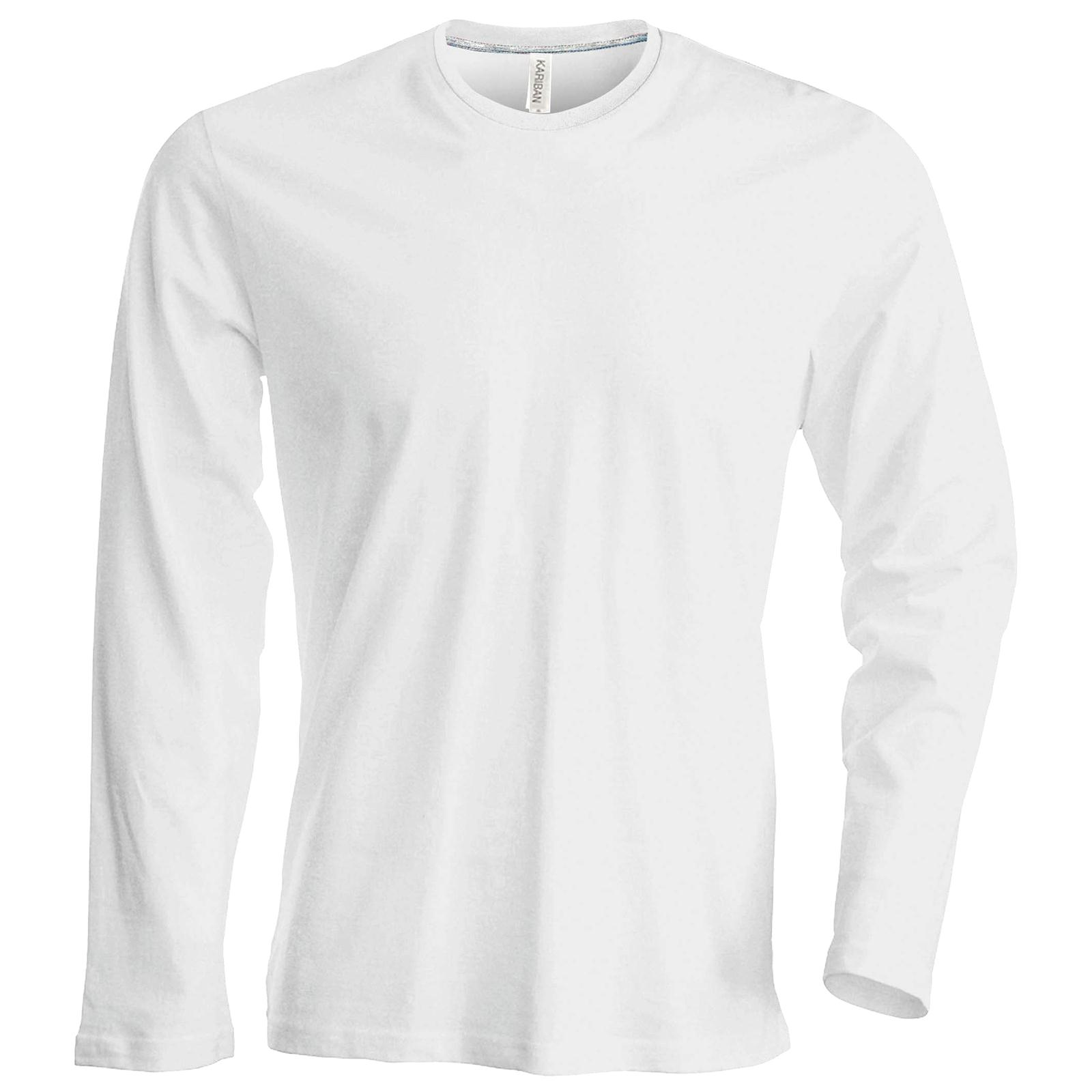 Mens Kariban Cotton Long Sleeve Slim Fit Crew Neck T-shirt Tops Size ... 1a604c050
