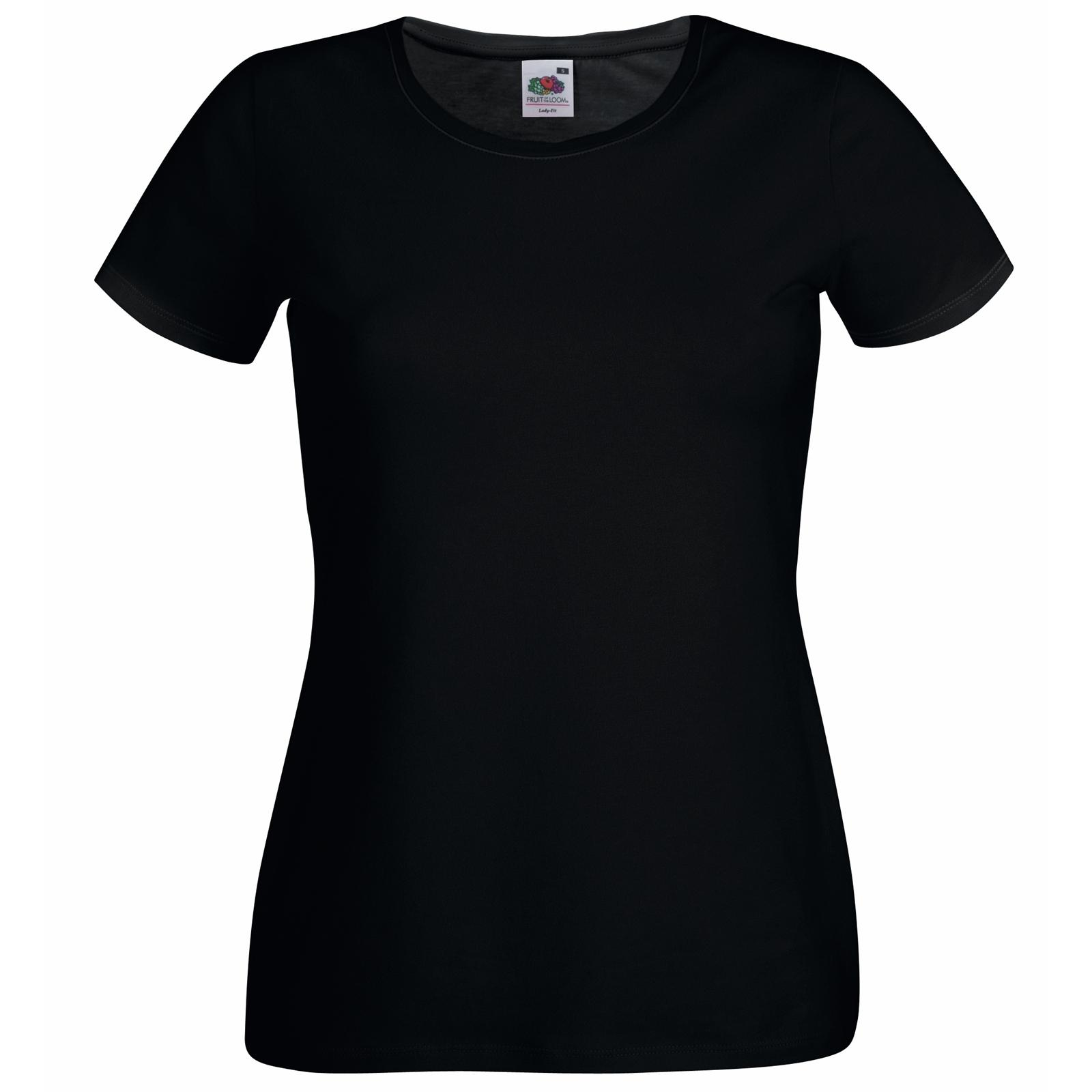 New Fruit Of The Loom Womens Lady Fit Crew Neck T Shirt 7: womens black tee shirt