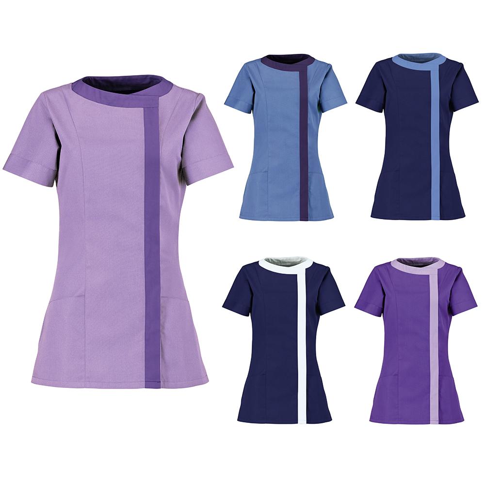 Womens alexandra short sleeved tunic work wear beauties for Uniform design for spa
