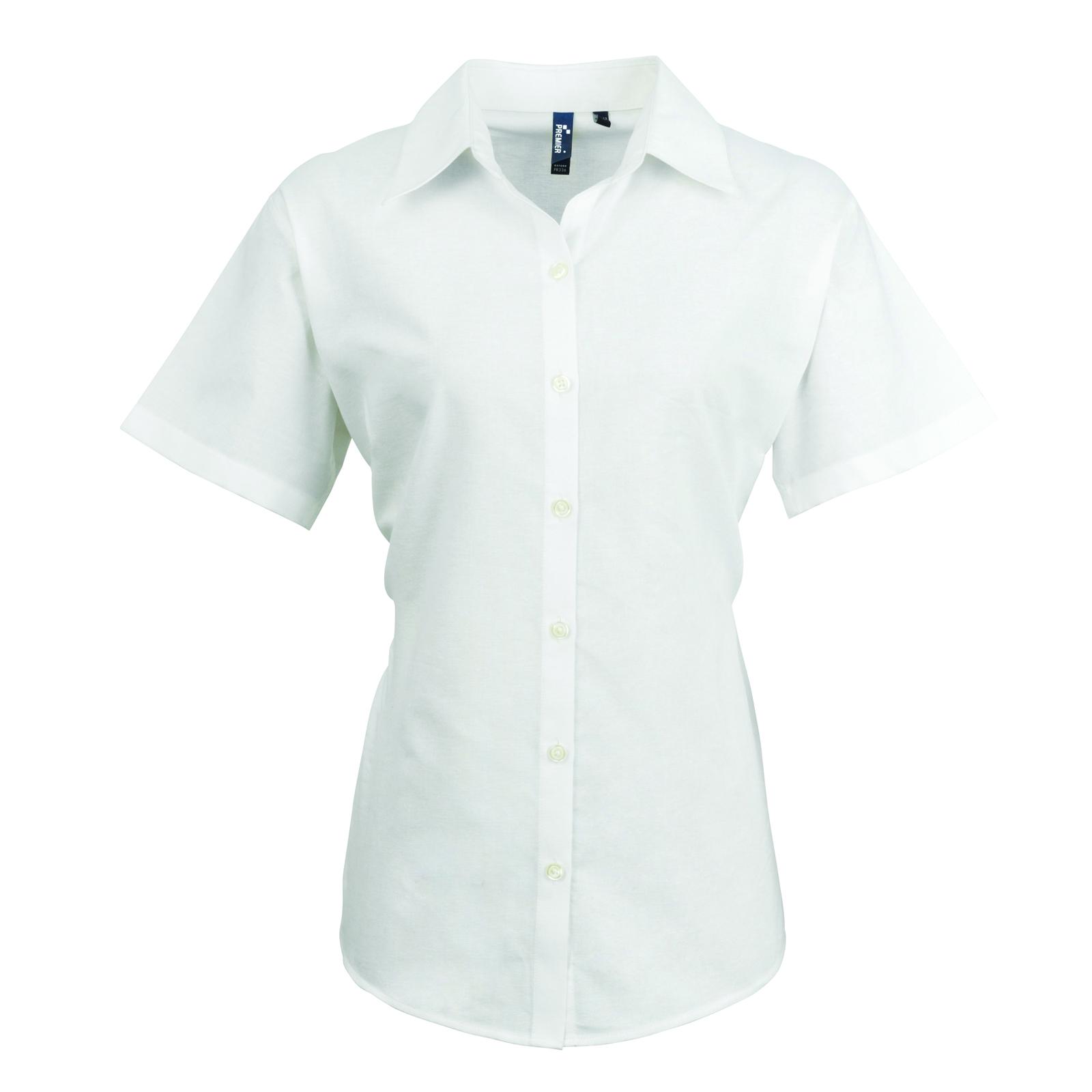 86bdb13d06c New Premier Womens Smart Oxford Ladies Short Sleeve Collared Shirt ...